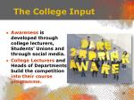 the college input