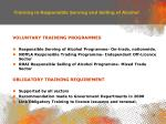 training in responsible serving and selling of alcohol