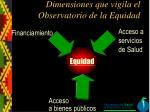 dimensiones que vigila el observatorio de la equidad