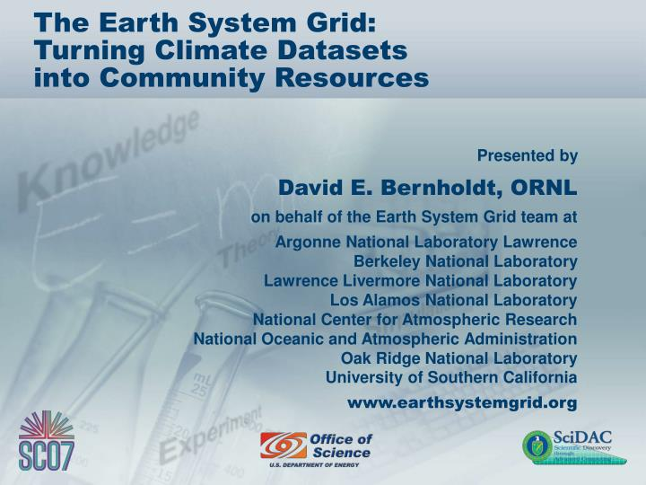 the earth system grid turning climate datasets into community resources n.
