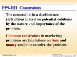 pp9 hh constraints
