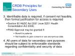 crdb principles for secondary uses1