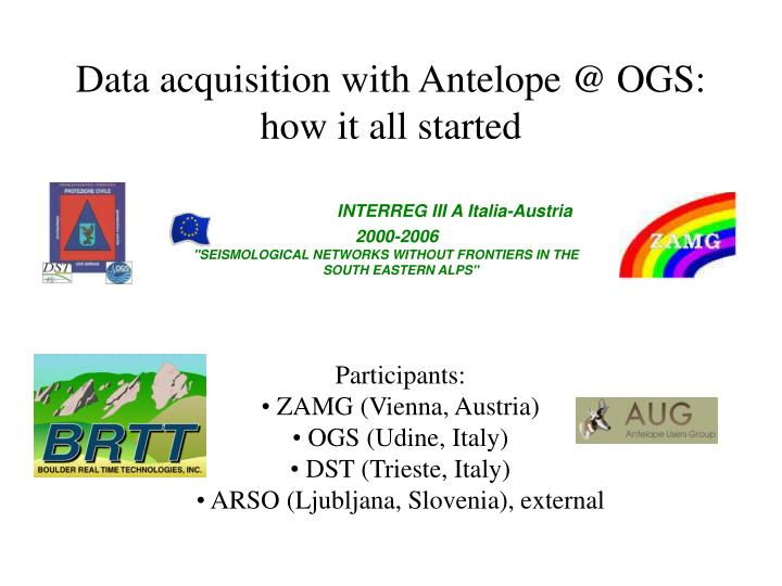 Data acquisition with Antelope @ OGS: