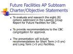 future facilities ap subteam charter objective statements