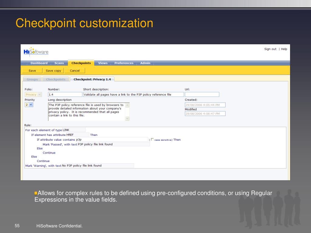 Checkpoint customization
