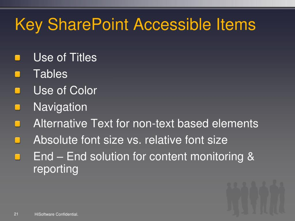 Key SharePoint Accessible Items
