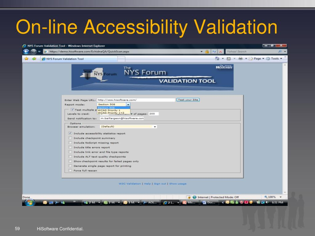 On-line Accessibility Validation