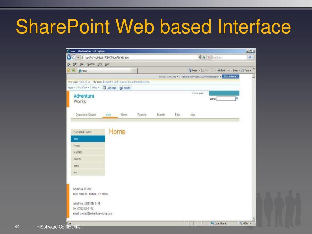 SharePoint Web based Interface