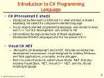introduction to c programming language