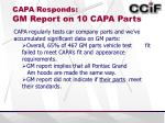 capa responds gm report on 10 capa parts