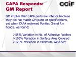 capa responds gm report