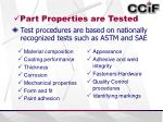 part properties are tested