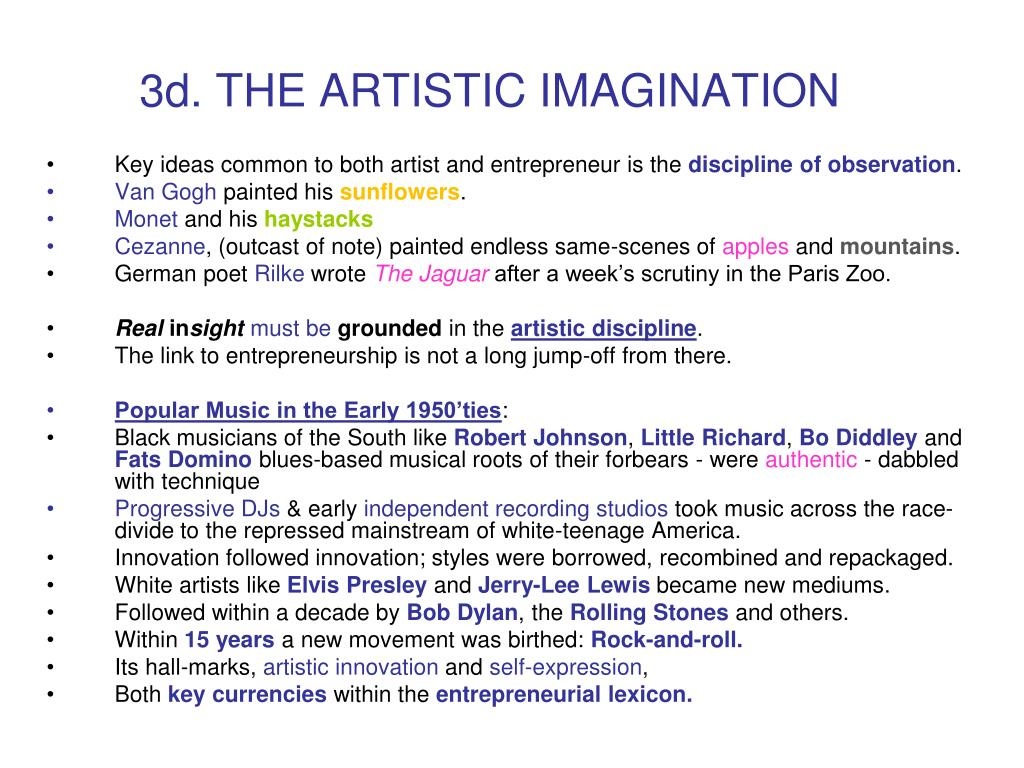 3d. THE ARTISTIC IMAGINATION