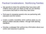 practical considerations reinforcing families