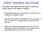 steps towards solutions