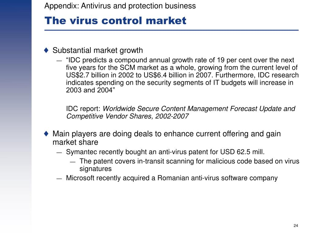 Appendix: Antivirus and protection business