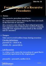 form dangers of a recursive procedures