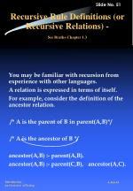 recursive rule definitions or recursive relations see bratko chapter 1 3