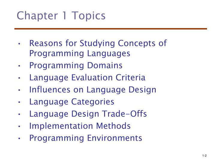 Chapter 1 topics