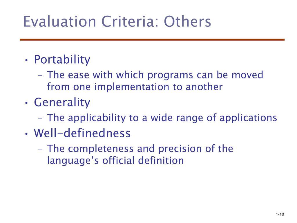 Evaluation Criteria: Others