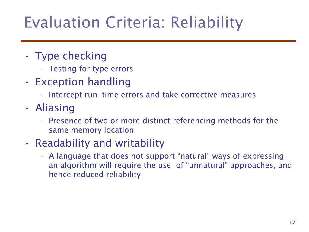 Evaluation Criteria: Reliability