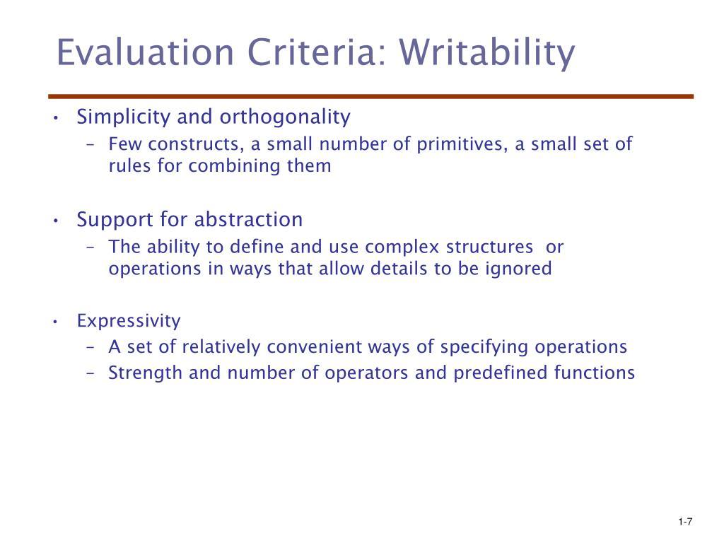 Evaluation Criteria: Writability