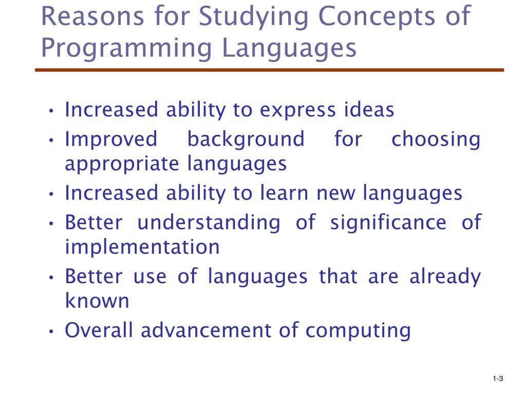 Reasons for Studying Concepts of Programming Languages