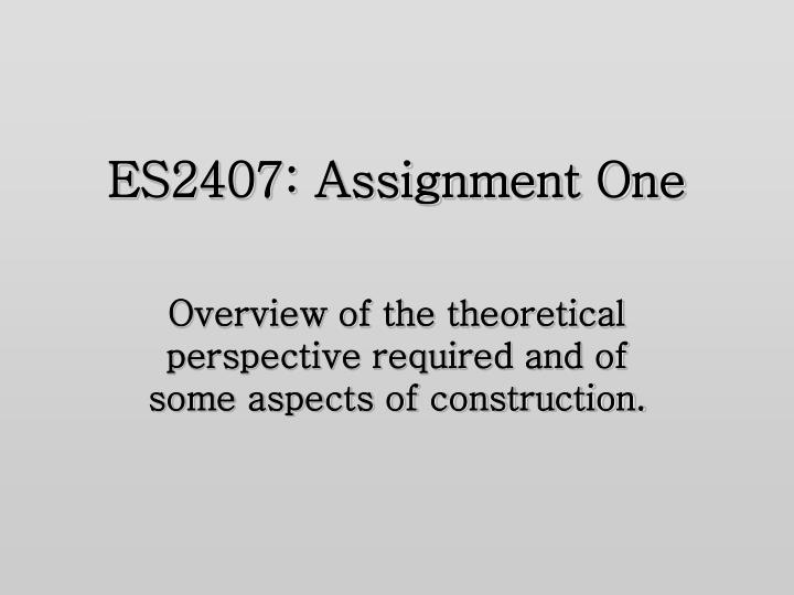 es2407 assignment one n.