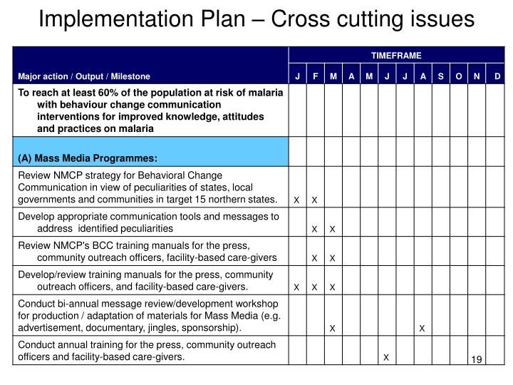 Implementation Plan – Cross cutting issues