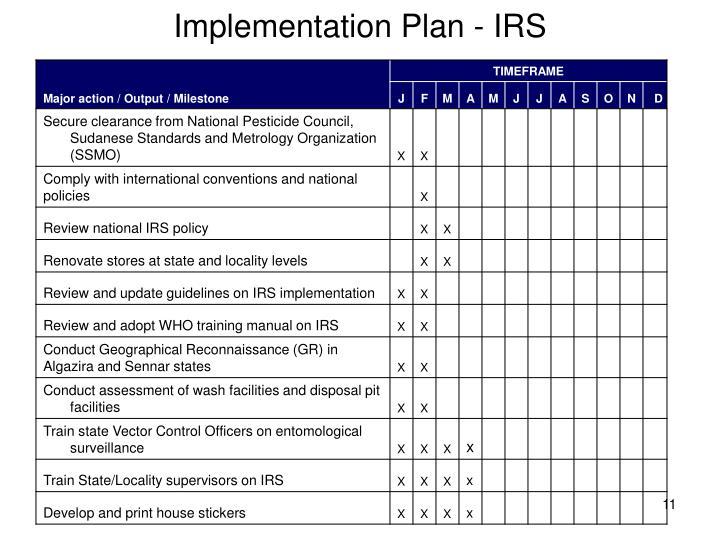 Implementation Plan - IRS