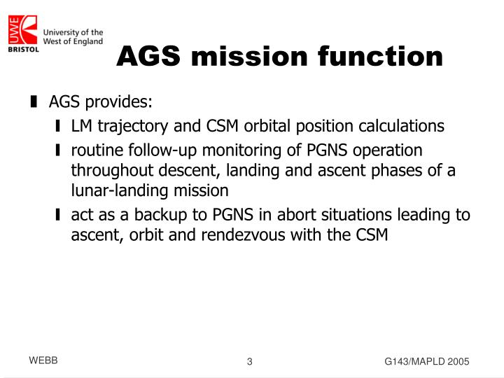 Ags mission function