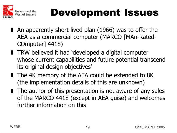 Development Issues