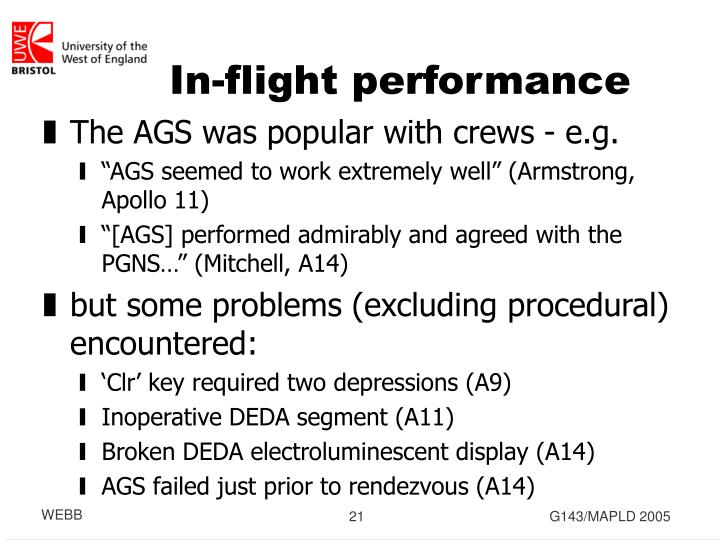 In-flight performance