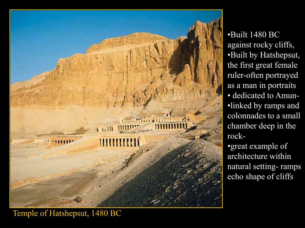 Built 1480 BC against rocky cliffs,