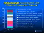 preliminary assessment of cost effective conservation potential