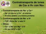 contratransporte de iones de ca e h con na