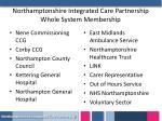 northamptonshire integrated care partnership whole system membership