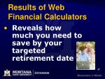 results of web financial calculators