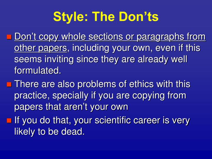 Style: The Don'ts