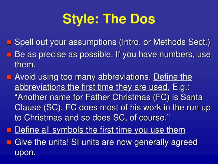 Style: The Dos