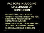 factors in judging likelihood of confusion