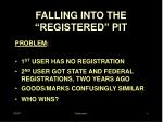 falling into the registered pit