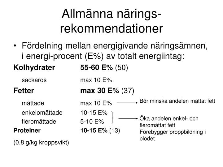 Allmänna närings- rekommendationer