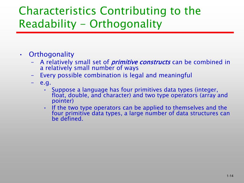 Characteristics Contributing to the Readability - Orthogonality