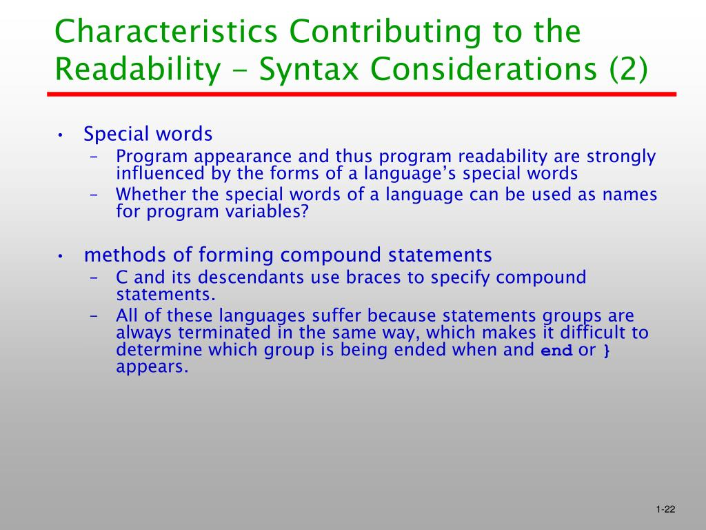 Characteristics Contributing to the Readability - Syntax Considerations (2)