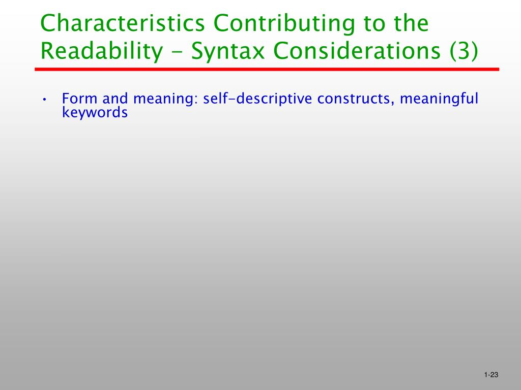 Characteristics Contributing to the Readability - Syntax Considerations (3)