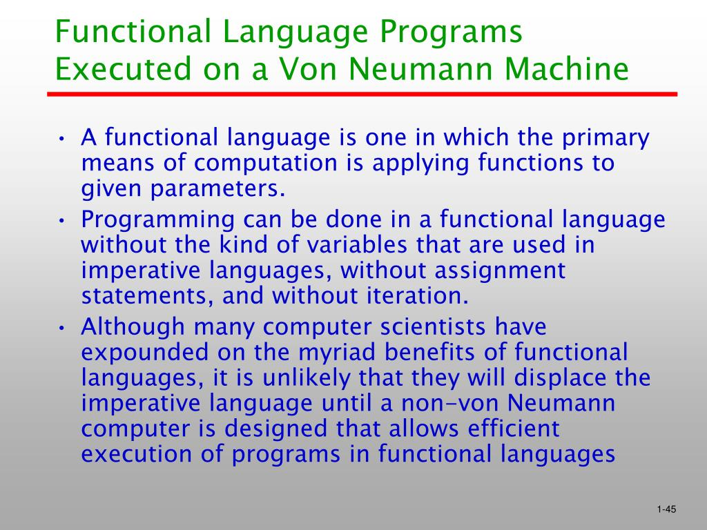 Functional Language Programs Executed on a Von Neumann Machine