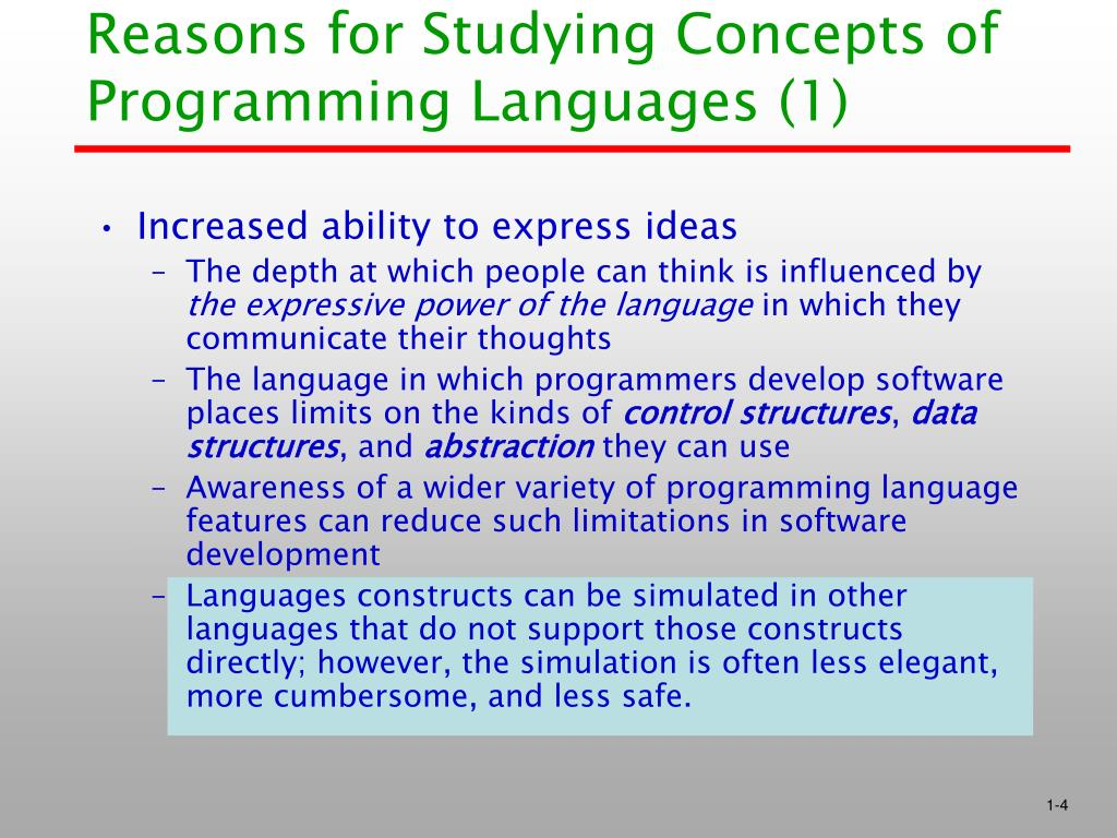 Reasons for Studying Concepts of Programming Languages (1)