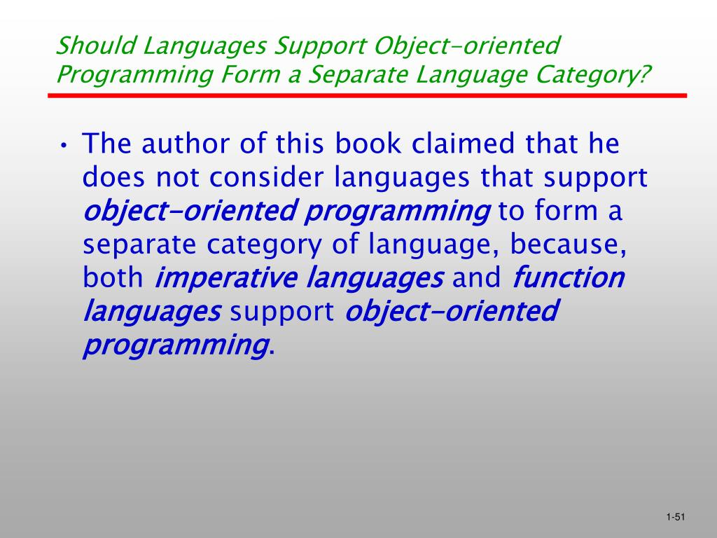 Should Languages Support Object-oriented Programming Form a Separate Language Category?