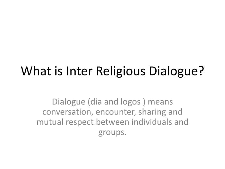 what is inter religious dialogue n.